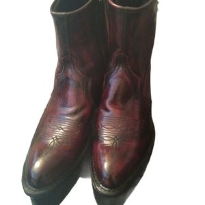 Sage Black Cherry leather upper ankle boots